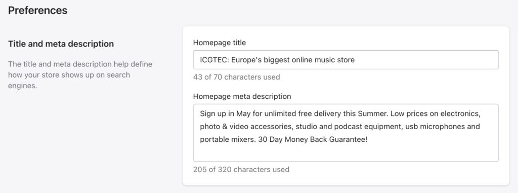 Shopify Home page title and meta