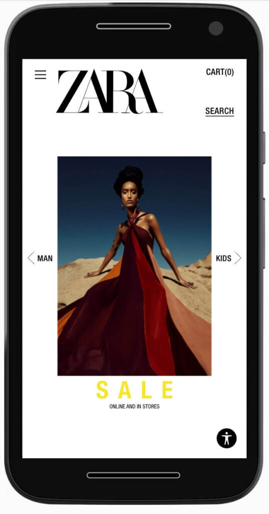 eCommerce review: Zara mobile home page