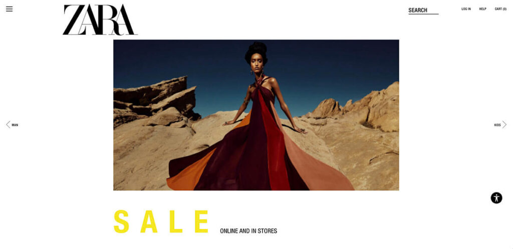 eCommerce website review: Zara home page